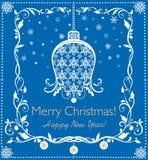 Applique azul de papel bonito para cumprimentos do Natal e do ano novo com sino de suspensão, flocos de neve e beira floral decor Foto de Stock Royalty Free