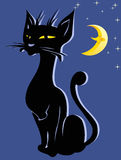 Applique with a black cat Royalty Free Stock Images