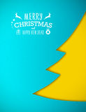Applique Christmas tree, blue background. Greeting card Stock Images