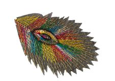 Applique, colored feather. Isolate on white Royalty Free Stock Photos