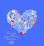 Applique criançola com o papel que corta a forma do coração com pão-de-espécie, anjos pequenos, flocos de neve, sino de tinir, do ilustração royalty free