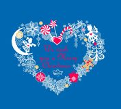 Applique criançola com o papel que corta a forma do coração com pão-de-espécie, anjos pequenos, flocos de neve, sino de tinir, os ilustração royalty free