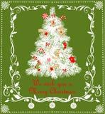 Applique criançola do Natal com o abeto do papel e o papel que cortam anjos dourados, pão-de-espécie, flocos de neve, doces e a b ilustração stock