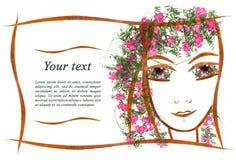 Applique de la invitación de la cara del ` s de la muchacha hecha de geranio seco Foto de archivo