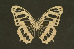 Applique del oro bajo la forma de mariposa imagen de archivo