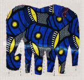 Applique del tessuto con gli elefanti blu Immagine Stock