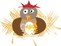 Applique divertido de pascua con la gallina, los huevos y el pollo Imagenes de archivo