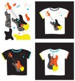 Applique en la guitarra eléctrica de la camiseta Imagenes de archivo