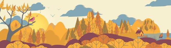Applique Forest Panorama del estilo del Papel-corte con la pequeña casa y BO libre illustration