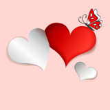 Applique hearts and cartoon butterfly Stock Photography