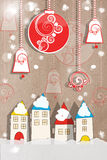 Applique New Year greeting card. Colourful applique New Year greeting card with decorative paper houses and hanging decorations in a snow covered winter scene on Stock Photography