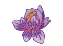 Applique purple flower made of fabric. Isolate on white Stock Image