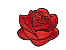 Applique red rose from the fabric. Isolate on white Stock Photography