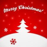 Applique rosso e bianco di vettore dell'albero di Natale Fotografie Stock Libere da Diritti
