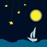 Applique - sailboat night ocean Royalty Free Stock Photography