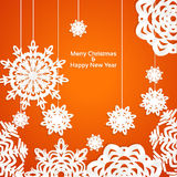 Applique snowflake Christmas banner. Vector illustration Stock Photo