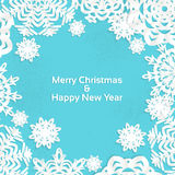 Applique snowflake Christmas frame for your text. Vector banner Stock Photos