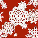 Applique snowflakes Christmas seamless background Stock Photo