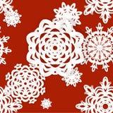 Applique snowflakes Christmas seamless background Stock Photo