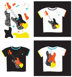 Applique on T-shirt electric guitar. Applique on a black and white T-shirt electric guitar and in parts Stock Images