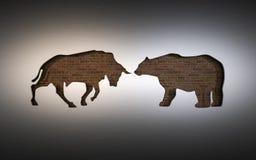 Applique van de symbolen van een stier en draagt gebruikt in de effectenbeurs het 3d teruggeven royalty-vrije illustratie