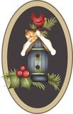 APPLIQUE WINTER CARDINAL Royalty Free Stock Images