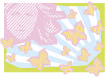 Applique' work. Background with girl and group of butterflies Royalty Free Stock Photos