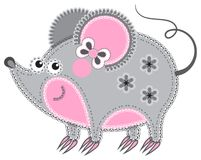 Applique' work in the form of mouse from a fabric Stock Image