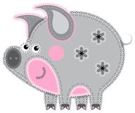 Applique' work in the form of pig from a fabric Royalty Free Stock Photos