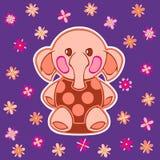 Appliqued avec l'éléphant de bande dessinée Photo libre de droits