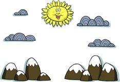 Appliquelandskap stock illustrationer