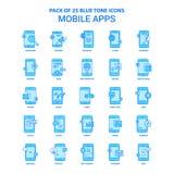 Applis mobiles Tone Icon Pack bleue - 25 ensembles d'icône illustration stock
