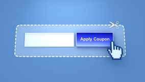 Apply Coupon. Button with scissors and mouse hand cursor, you can write your coupon code on white area stock photos