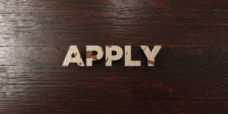 Apply - grungy wooden headline on Maple  - 3D rendered royalty free stock image Royalty Free Stock Images