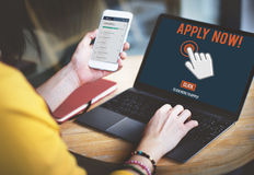Apply Here Apply Online Job Concept Stock Photos