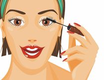 Apply mascara Royalty Free Stock Photography