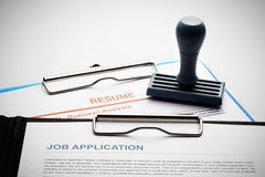 Apply for new job by Application and Resume Document Stock Photo