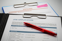 Apply for new job by Application and Resume Document Stock Photography
