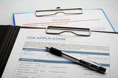 Apply for new job by Application and Resume Document Stock Image