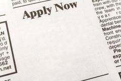 Apply Now. Newspaper employment ad, Apply Now, Employment concept Stock Photos