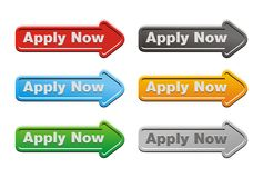 Apply now button sets - arrow buttons Royalty Free Stock Photo