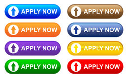 Apply now. Colorful collection of apply now buttons Stock Photo