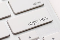 Apply Now Computer Key. In For Work Application Stock Photography