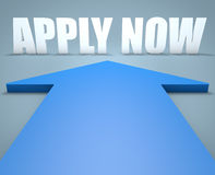 Apply now. 3d render concept of blue arrow pointing to text Stock Image