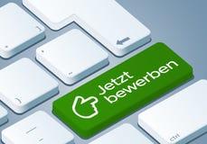 Apply now Key - Keyboard with 3D Concept illustration - German-Translation: Jetzt bewerben vector illustration