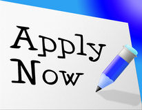 Apply Now Means Occupation Admission And Job Stock Image