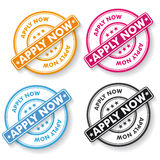 Apply Now Papper labels Stock Image
