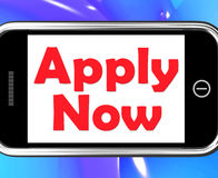 Apply Now On Phone Shows Job Applications Stock Image