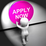 Apply Now Pressed Shows Job Opening And Application Royalty Free Stock Photography