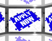 Apply Now On Screen Showing Job Recruitment Stock Photo